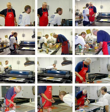 photos of lee turner working with larry brown on his monotypes